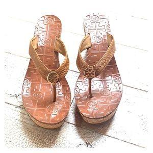 Tory Burch Thora Tan Cork Wedge Sandals 9M